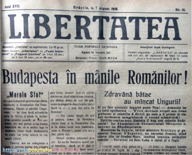 libertatea Mota - Budapesta - 100 de ani de la ultima mare bătălie a Primului Război Mondial