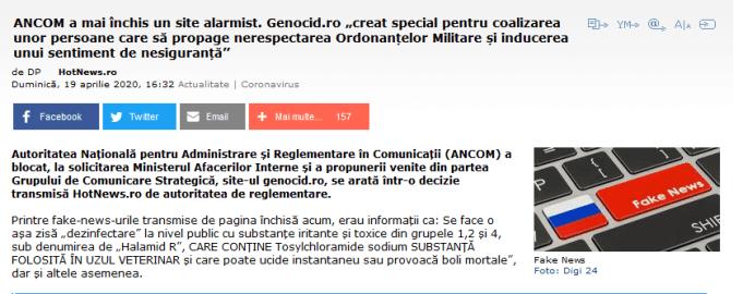 ScreenShot 20200423232954 300x119 - Genocid.ro despre suspendarea unor situri in timpul pandemiei in România