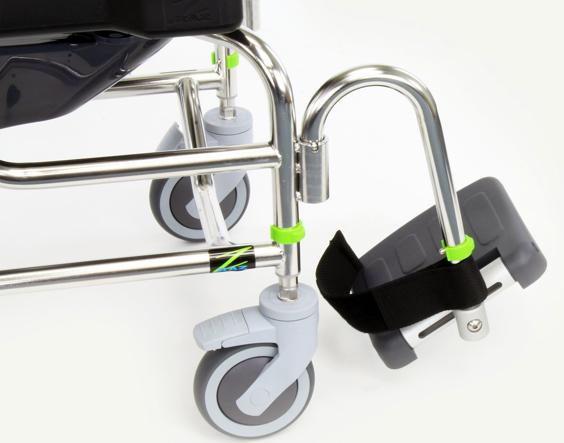 Adjustable Molded Footplate  Mobile Shower Commode Chairs