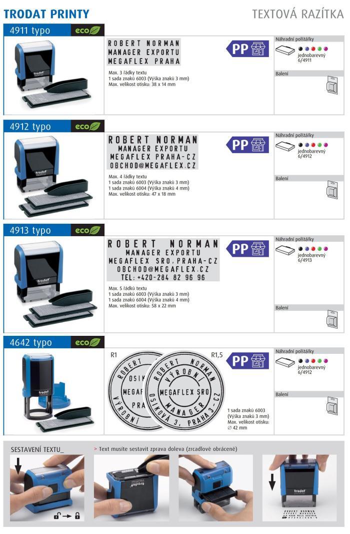Razítko Trodat Printy 4912 Typo - SET sestavovací razítko