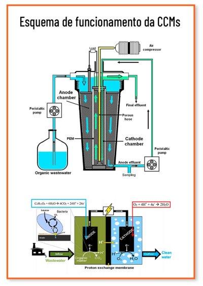 esquema funcionamento bateria biológica geradora eletricidade água esgoto
