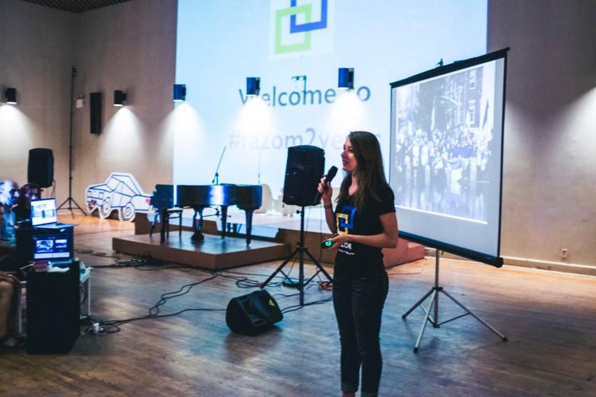 Mariya Soroka , lead of Razom Culture, worked with many artist-volunteers to transform the Ukrainian National Home main hall for the meeting.