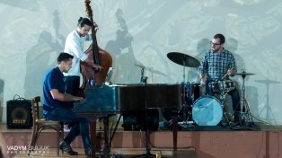The Roman Bardun Trio performed several original jazz arrangements based on traditional Ukrainian folk melodies. Pictured here: Roman Bardun-piano, Noel Mason-bass, Steven Crammer-drums. Photo credit: Vadym Guiluk.