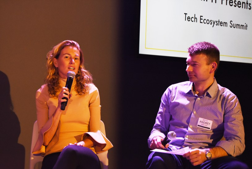 """Eveline Buchatskiy on the """"How to actually Invest in Ukraine"""" panel moderated by Andrey Akselrod, CTO of Smartling."""