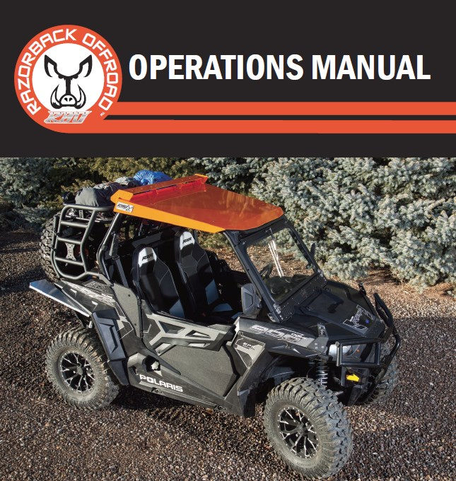 Operations manual cover for the Polaris RZR 900