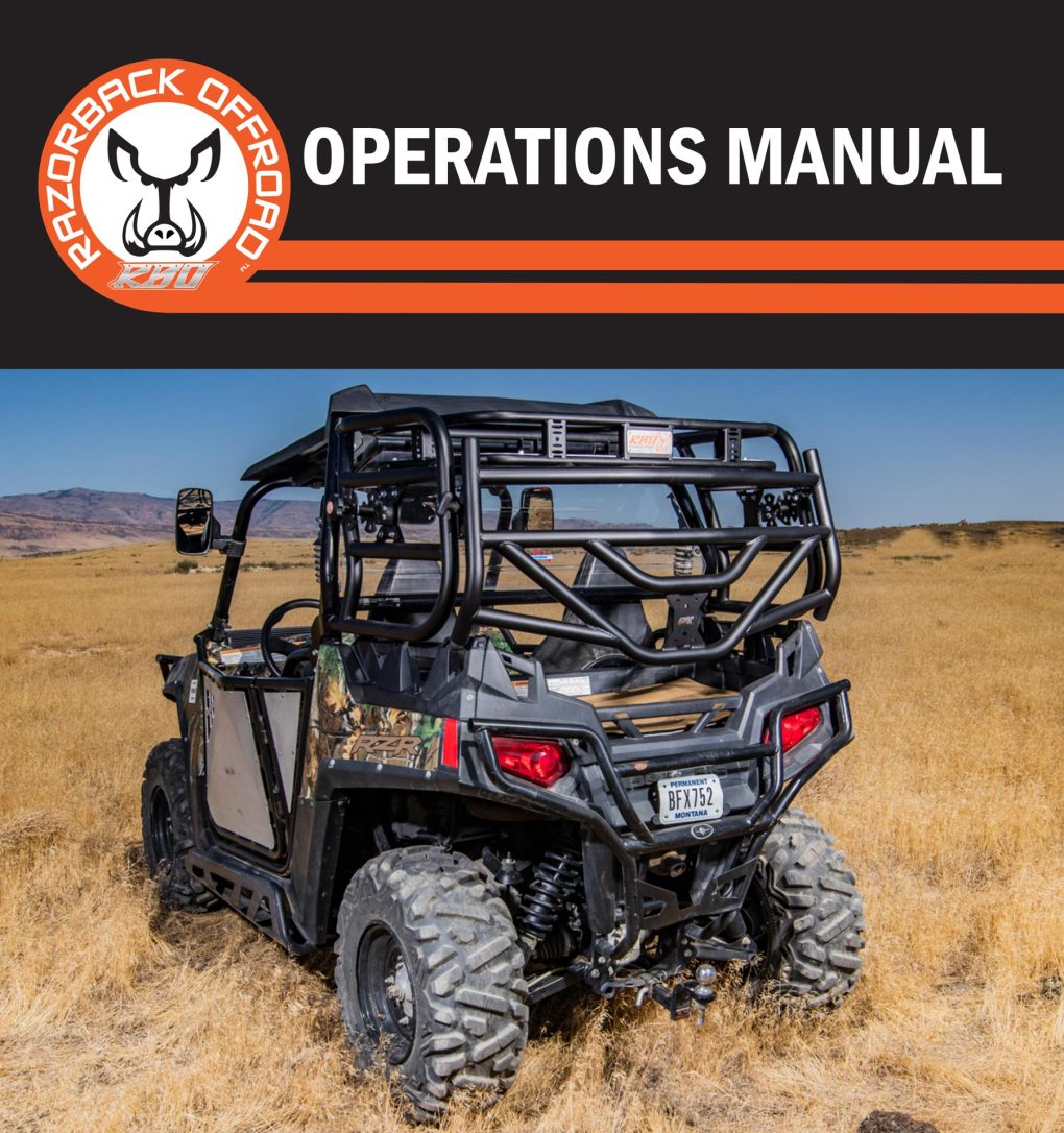 Operations manual cover for Polaris RZR 570 Cargo Rack for UTV and Side by Side