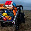 Camping supplies tied down onto and under Polaris Ranger Cargo and Supply Rack