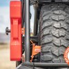 Polaris General Spare Tire Mount Shown with rotopax and spare tire