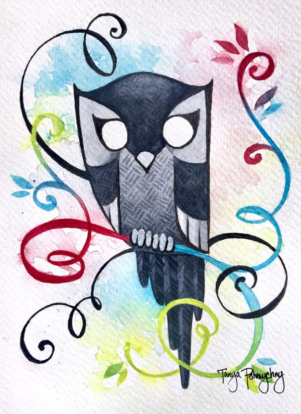 Black And White Owl original painting