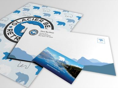 Glacier Bear Retreat Letterhead, Envelope, Business Card