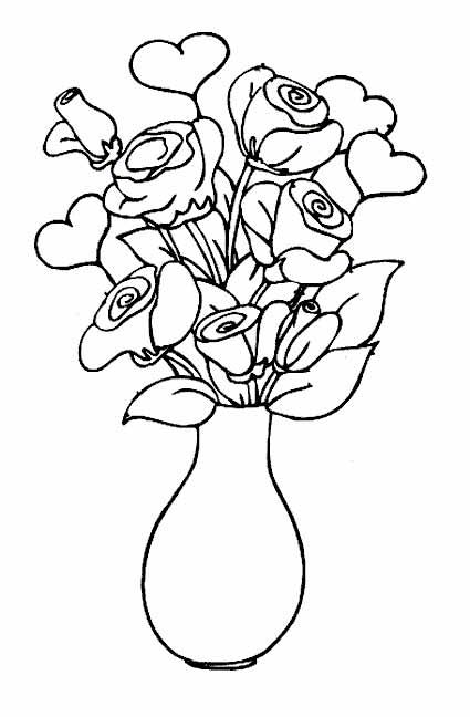 Gambar Mewarnai Vas Bunga Gambar Mewarnai Bunga