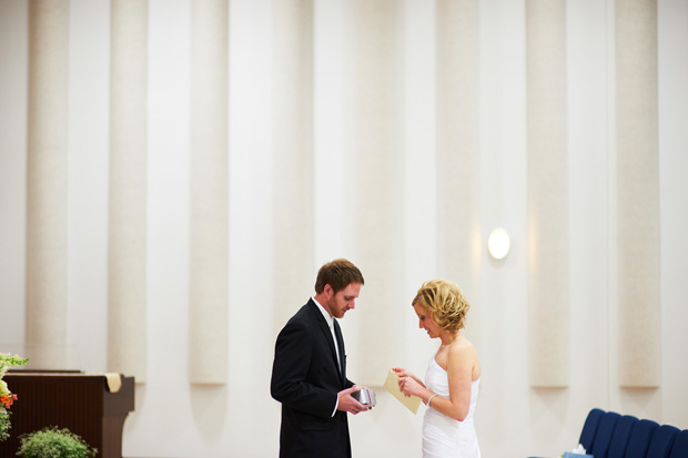 bride and groom exchanging gifts