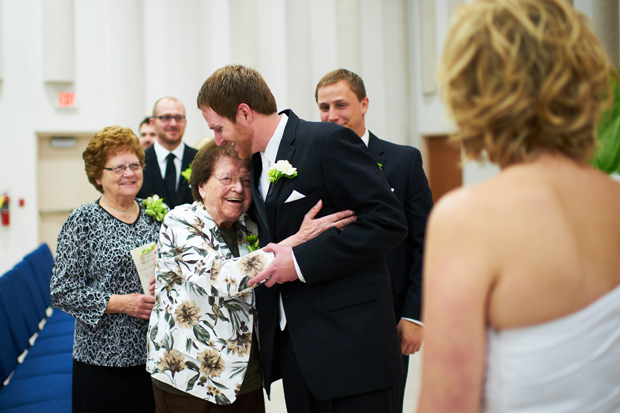 grandma congratulating the groom after the ceremony
