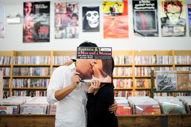 engagement session photo at an old record store in chicago