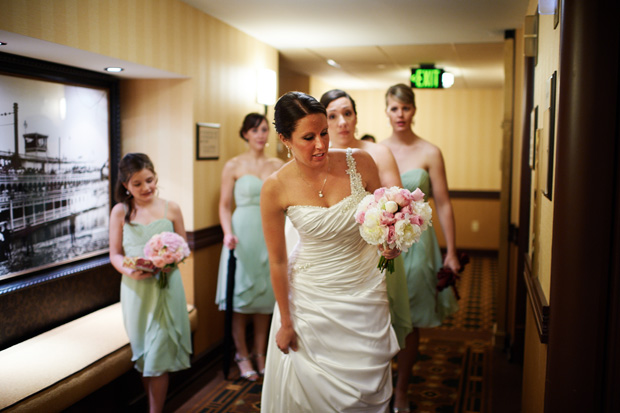 Bride with the bridesmaids at Hotel Julien