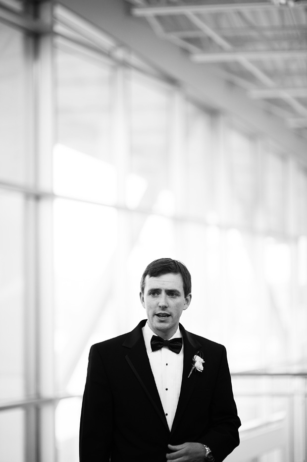 Groom waiting at the grand river center in dubuque