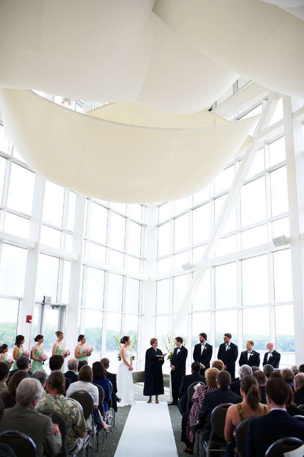 panoramic view of the wedding ceremony at the grand river center