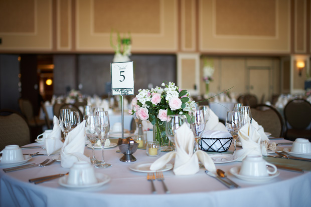 table arrangement for a hotel julien wedding