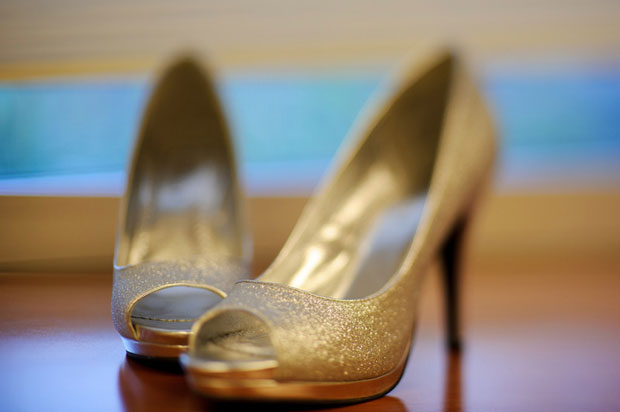 detail shot of the bridal shoes