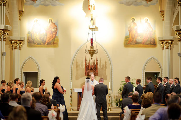 wedding ceremony at st anthonys chirch in dubuque