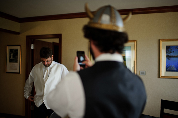 groomsmen with viking hat
