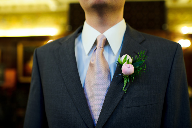 boutonniere detail shot -peonies