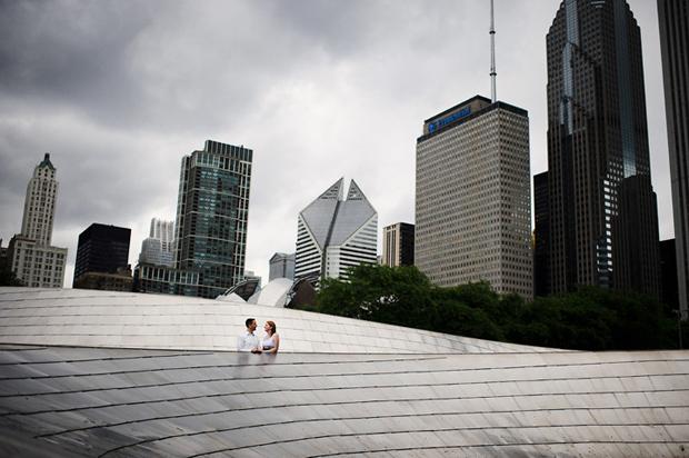 Chicago Millenium Park engagement portrait