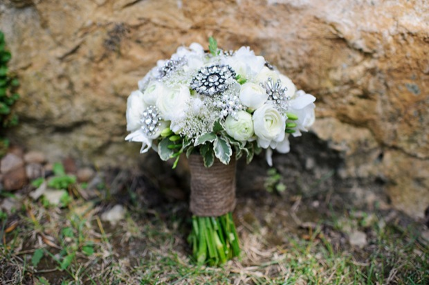 Wedding bouquet with white peonies and jewelry