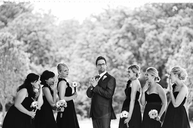Groom and bridesmaids photo