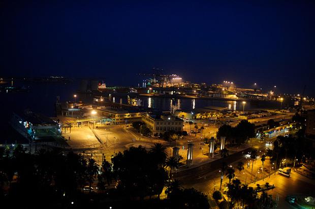 The Malaga port at night