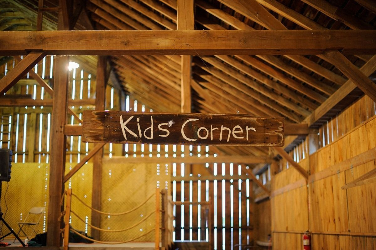 kids corner at a barn wedding