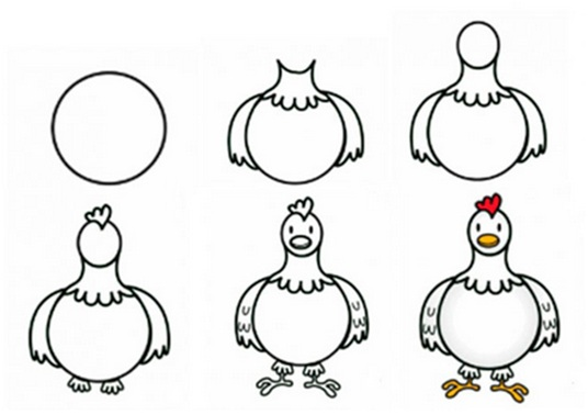 How to draw a pencil chicken (step 2)