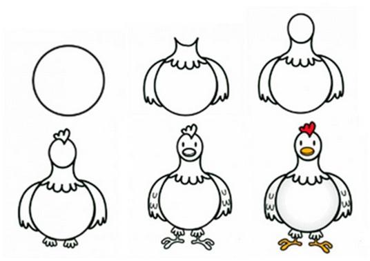 एक पेंसिल चिकन कैसे आकर्षित करें (चरण 2)
