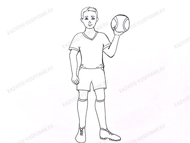 f5fb534cb1e233 Завершується легкий малюнок олівцем деталізацією предметів одягу та взуття,  рис обличчя. Волосся зображуються за допомогою уривчастих ліній.