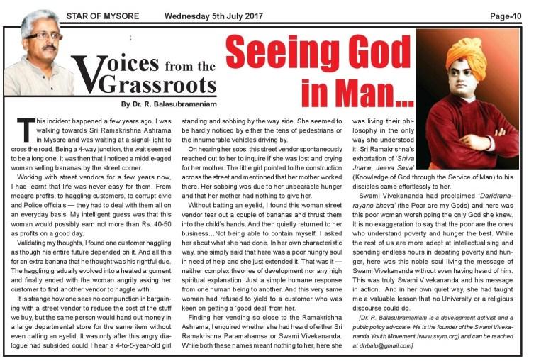 Seeing God in man-SOM 5th July 2017