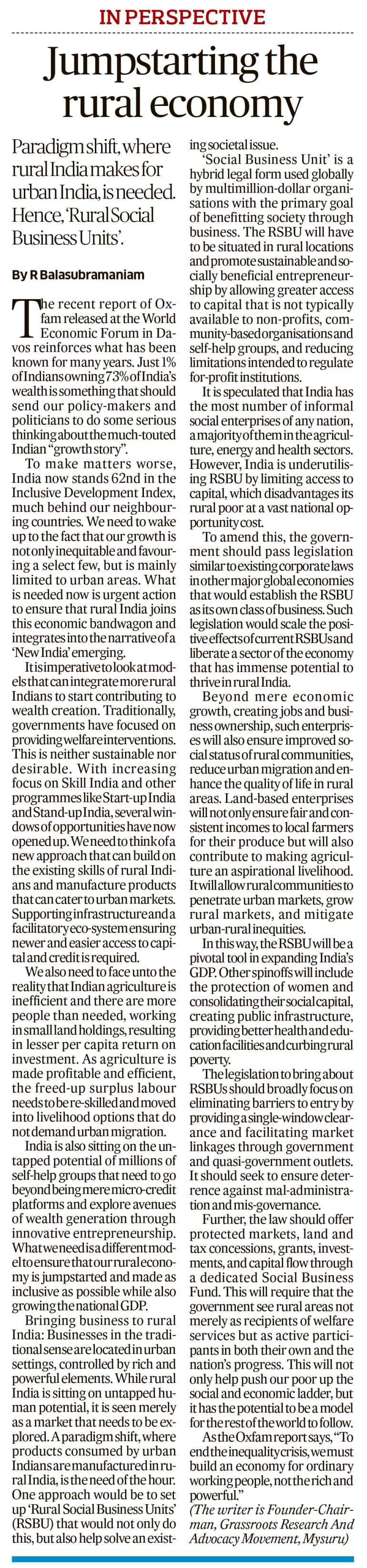 Jumpstarting the Rural EconomyJan18