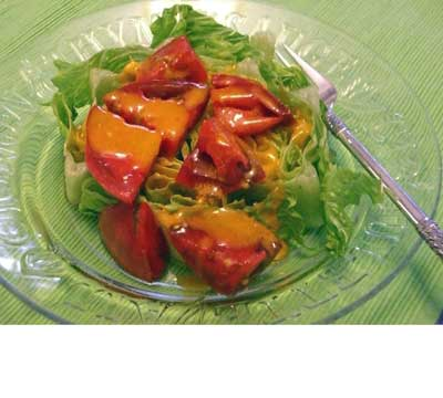 vinaigrette made with an overripe tomato