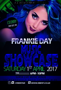 Frankie Day Music showcase Flyer ACts