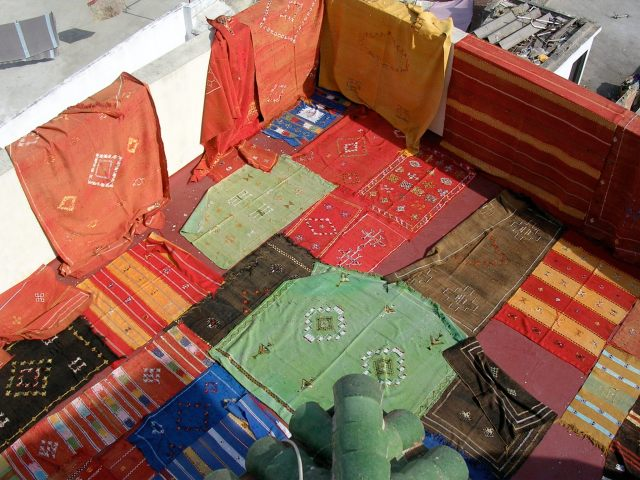 Rug market in Tangiers, careful they will swindle you