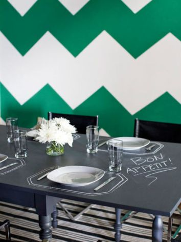 Chalkboard Paint Dining Room Table Chevron Accent Wall Bon Appetit Flowers
