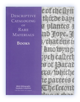 5861ea4bd DCRM(B)  Descriptive Cataloging of Rare Materials (Books)