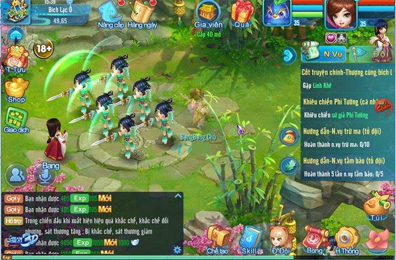 Giao diện chiến trường trong DreamWorld 3D
