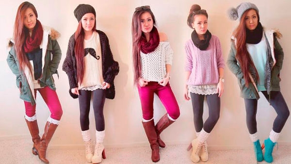 Knitted clothes for high school girls