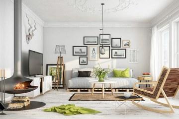 Гостиная, оформленная в скандинавском стиле маленького размера