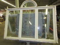 3 Panel Aluminum Storm Window w/ Decorative Arched Window
