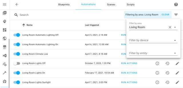 Capture d'écran des automatisations de filtrage par la zone du salon