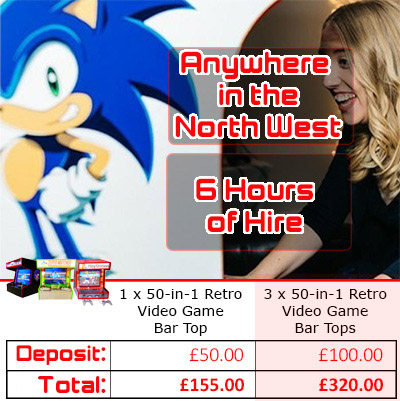 video game bar top hire pricing graphic