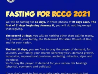 RCCG PRAYER AND FASTING 18 JANUARY 2021