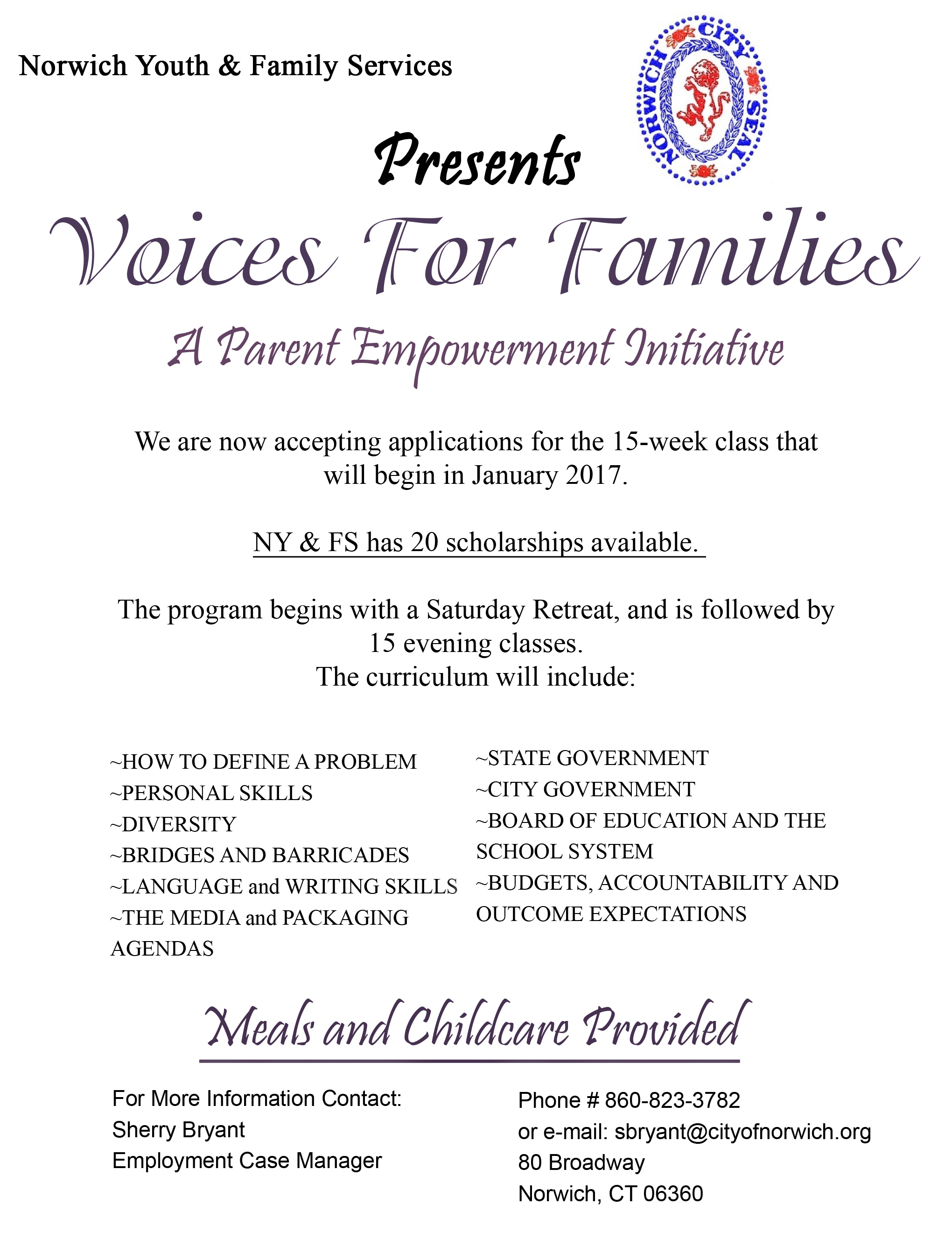Voices for Families Class Flyer