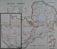 South East section of Northern Rhodesia map.